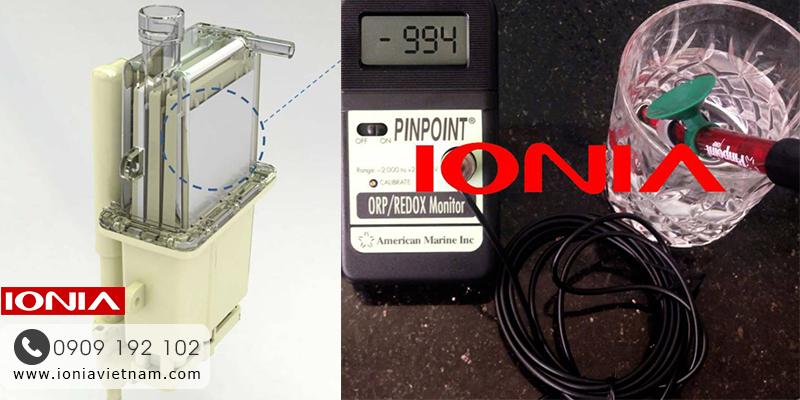 Tấm điện cực hiệu suất cao (bên trái) và ly nước ion kiềm (bên phải) từ máy SM-2F9 có ORP=-994 (tùy chất lượng nước đầu vào)