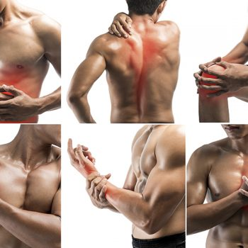 Collage showing pain at several part of body